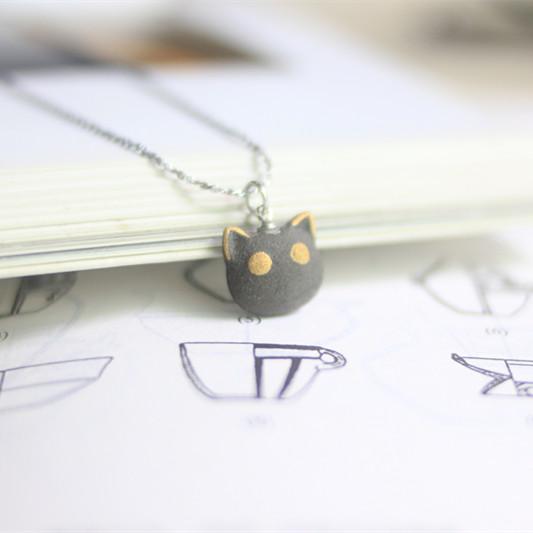 【猫咪系列】陶艺家朱晓威  手工陶瓷饰品925纯银 耳坠 耳线 项链 单件装