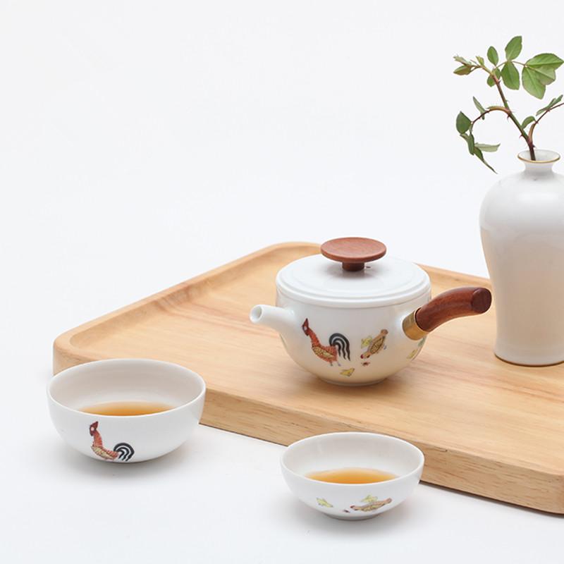 【悦旅系列】设计师杨晓葱 陶瓷快客杯斗彩鸡缸杯一壶二杯便携式户外旅行茶具套装
