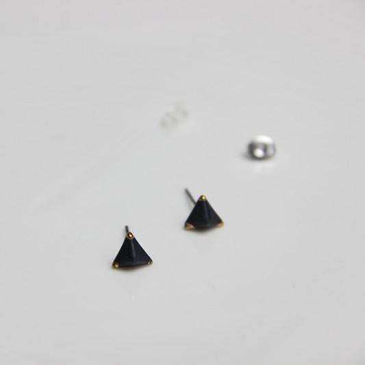 【黑白系列】陶艺家王飞  手工陶瓷立方耳钉 925纯银 单件装