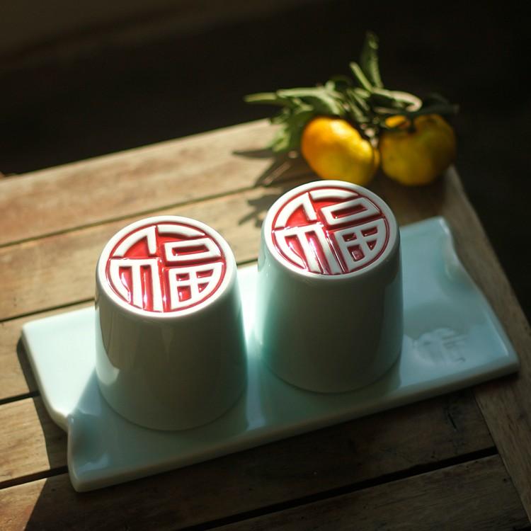 【双喜系列】山水一间设计  湖田影青圆对杯 中式结婚礼品 敬茶杯 情侣杯 两杯一托盘套装