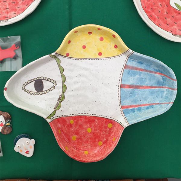 【飞鸟系列】陶艺家陶子手作彩绘陶瓷餐盘 果盘 点心盘 单件装