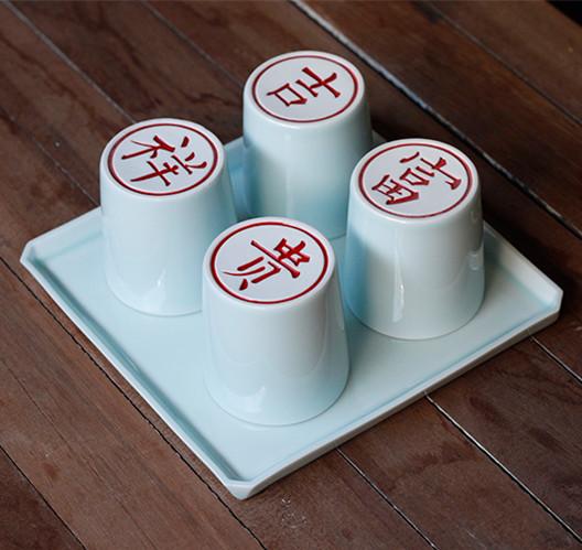 【富贵吉祥系列】山水一间设计 中式瓷雕 茶水杯 礼品杯 景德镇高档陶瓷四杯一托盘套装
