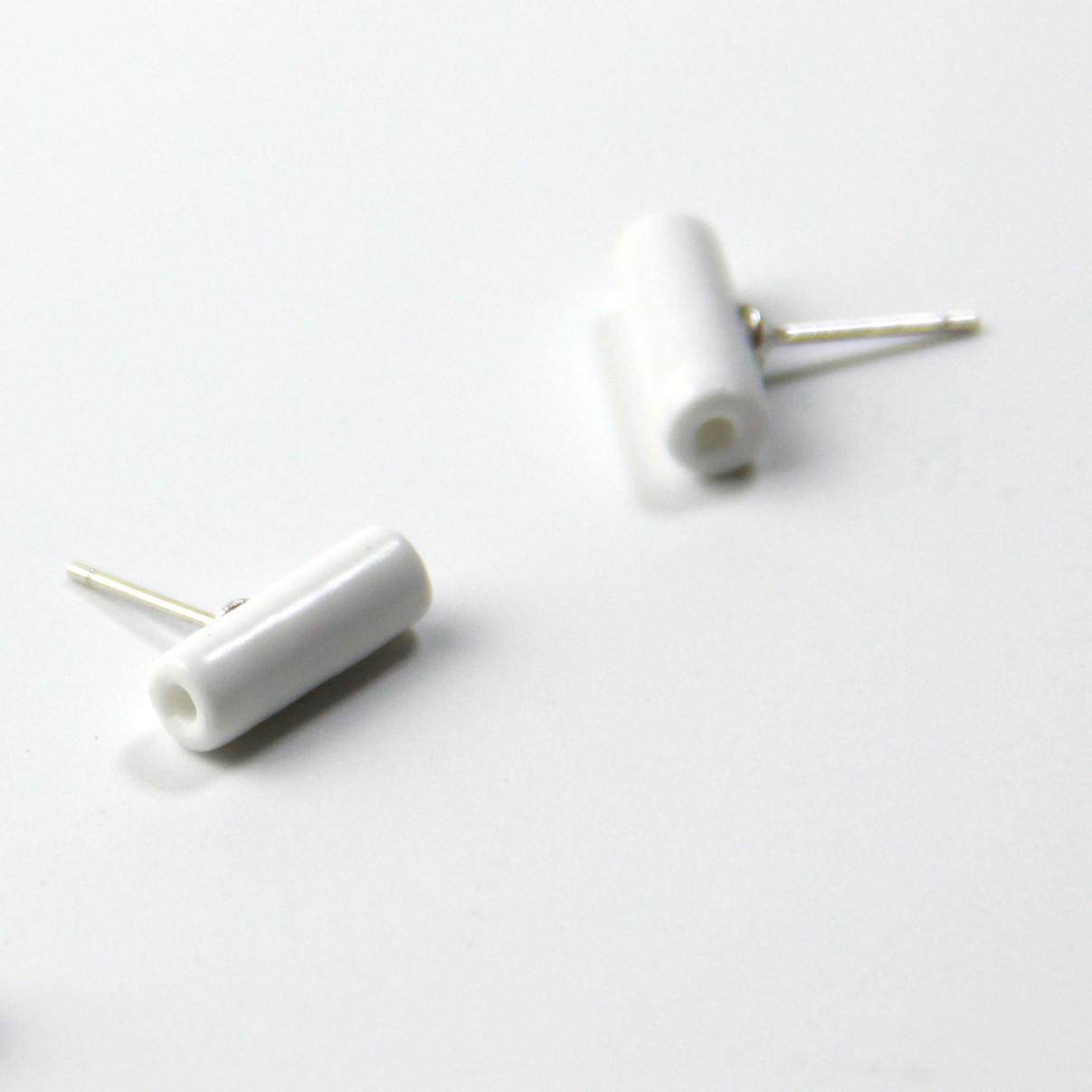 【黑白系列】陶艺家王飞 黑白极简风 手工陶瓷耳饰 耳钉 耳线 925纯银  单件装