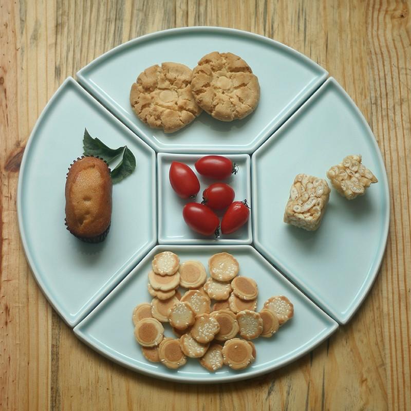 【铜钱碟系列】山水一间设计  甜点碟  冷餐碟 陶瓷茶点碟 手工创意餐具 5件套