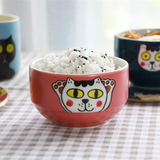 【卡通猫咪系列】陶艺家阿哩原创 手绘猫咪陶瓷碗盘 创意食器  单件装