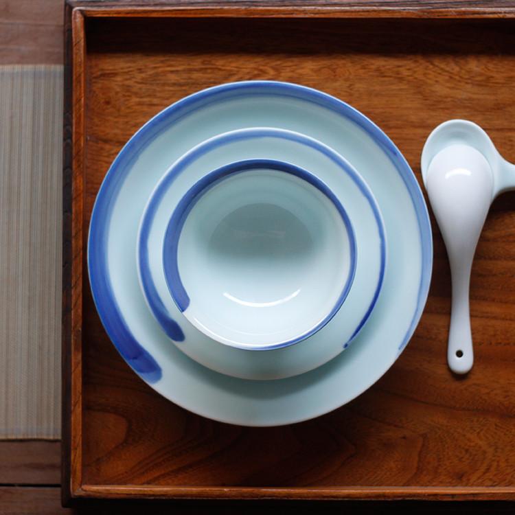 【蓝边水墨系列】山水一间设计 景德镇高档陶瓷青花手绘餐具 饭碗套装 三件套