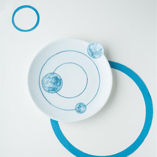 【几何系列】陶艺家张敏设计 手工手绘浅蓝创意餐盘 点心盘 果盘 单件装