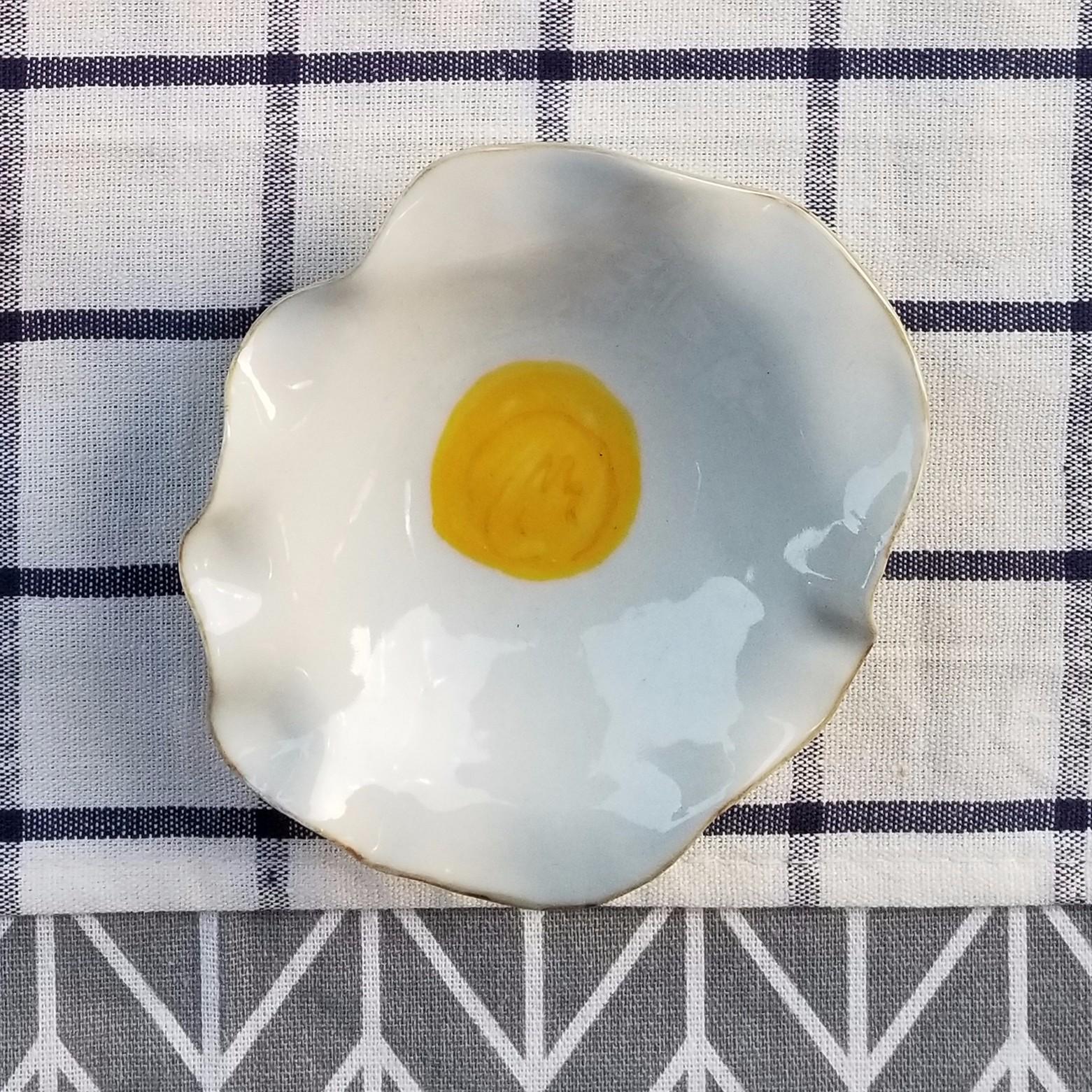 【鸡蛋黄系列】陶艺家姚金晓设计  手工手绘创意餐盘 点心盘 酱碟