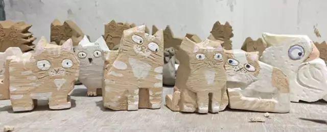 【猫咪系列】陶艺家熊撼林 手工陶瓷猫咪摆件 桌面摆件 可私人订制 单