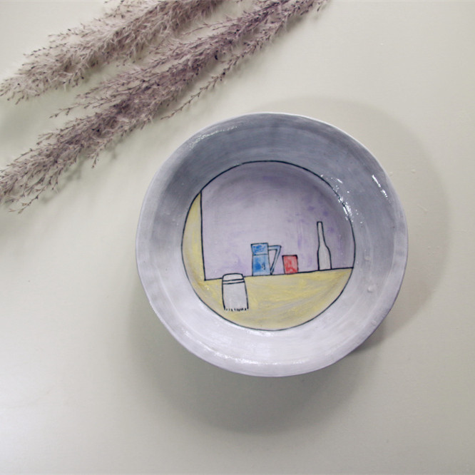 【手绘插画系列】陶艺家阿布设计 纯手工制作手绘特色餐盘 果盘 礼品礼物 单件装