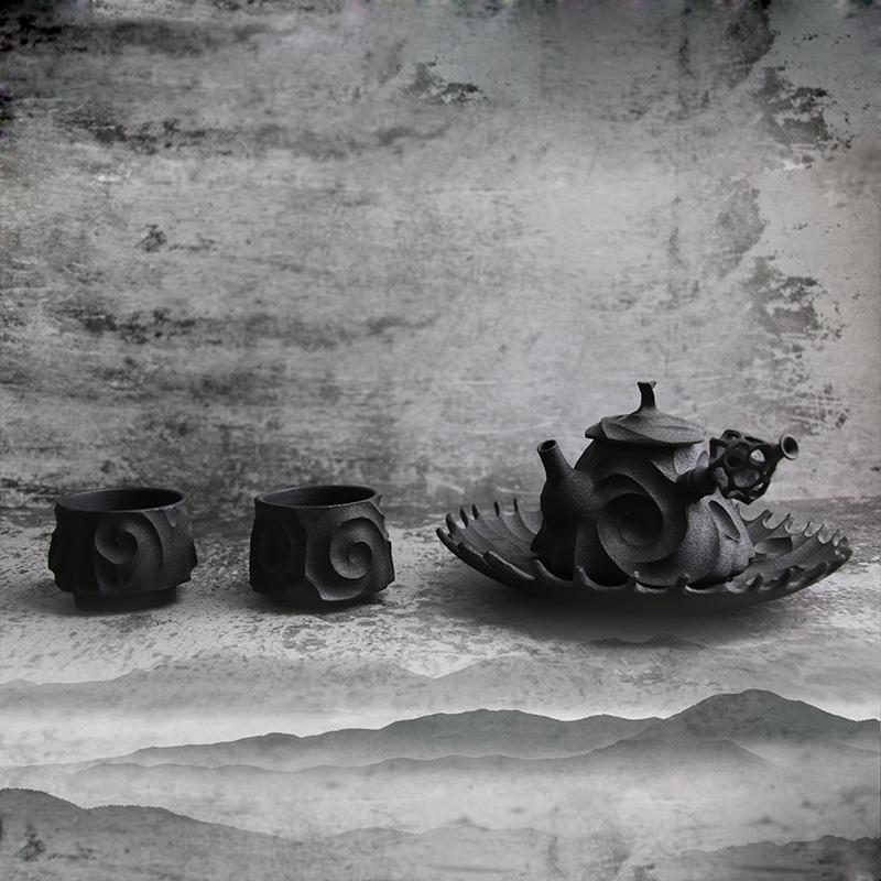 【恶魔果实系列】陶艺家朱志远 全手工制作 茶壶茶杯 一壶二杯一托盘套装 人文茶器