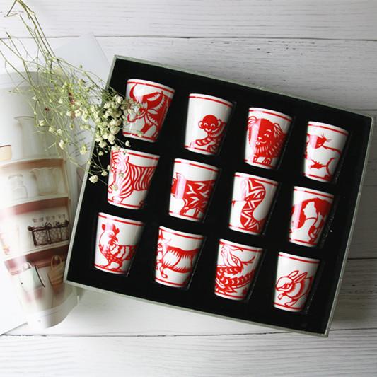 【12生肖系列 】瑞典艺术家Agnes设计 景德镇剪纸中国风 茶器套装 茶杯  礼品瓷 一套12个装