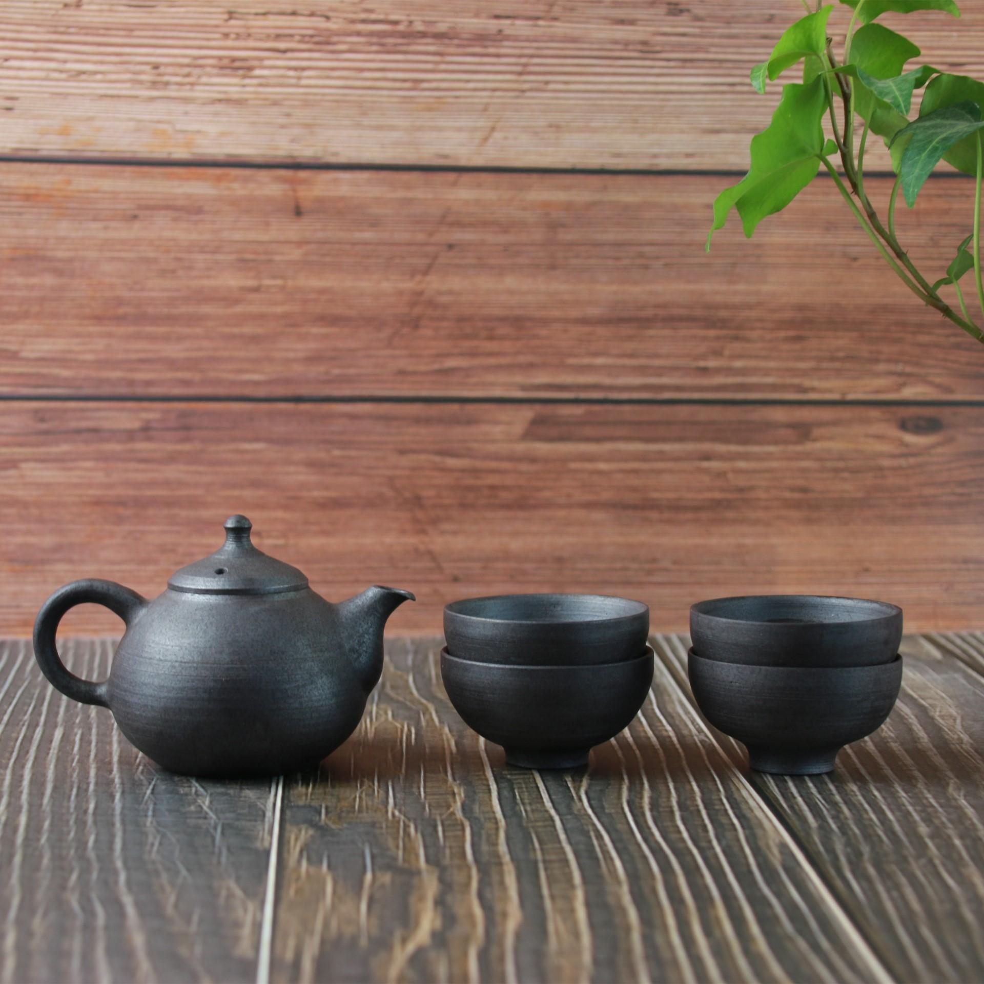 【皿川系列】陶艺家戴朝阳 全手工制作 茶壶茶杯 一壶四杯套装 人文茶器