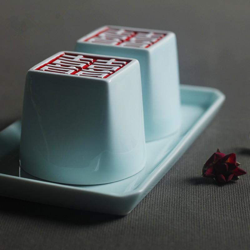 【高档礼品组合系列】山水一间设计 创意雕刻水杯 结婚礼物 景德镇高档陶瓷餐具 礼盒装