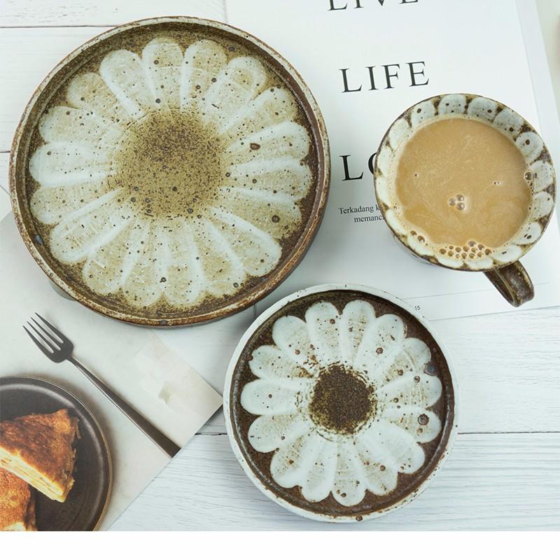 【刷花系列】三目屋设计 纯手工制作 粗陶日式家用粗陶刷花餐具 创意餐具 单件装